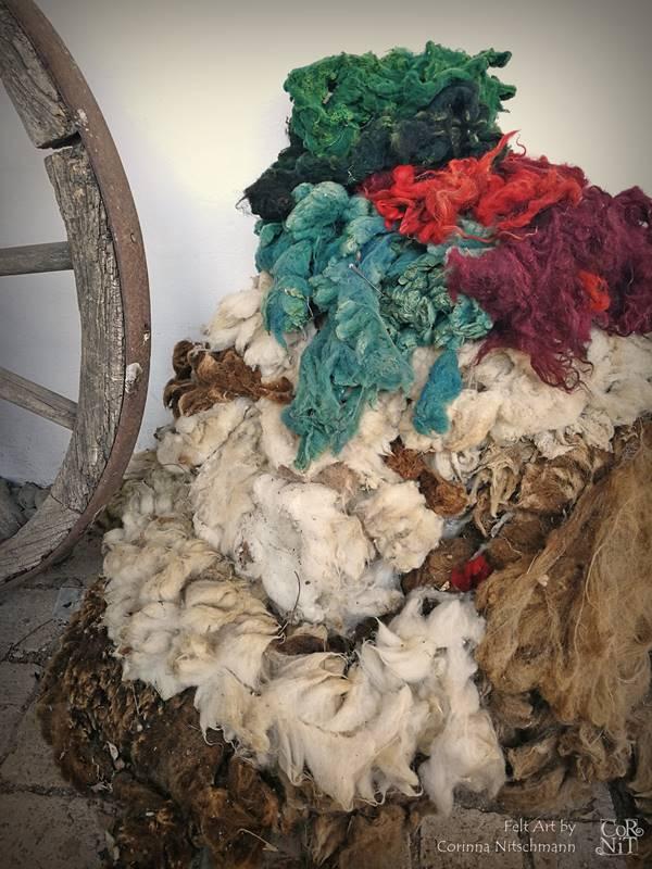 Gefärbte und ungefärbte Rohwolle vom Jakobschaf