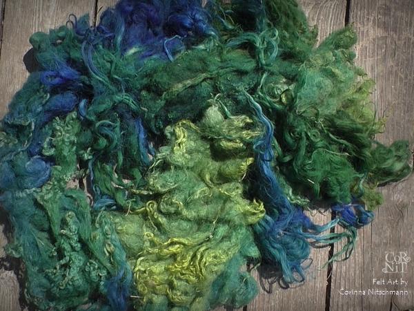 Rohwolle zum Färben grün blau