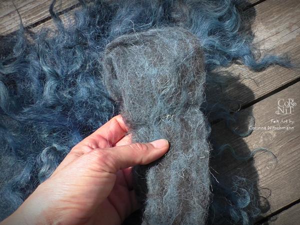 Rohwolle zum Färben verfilzt