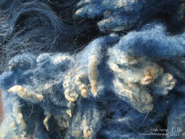 Rohwolle zum Färben Indigo Löckchen
