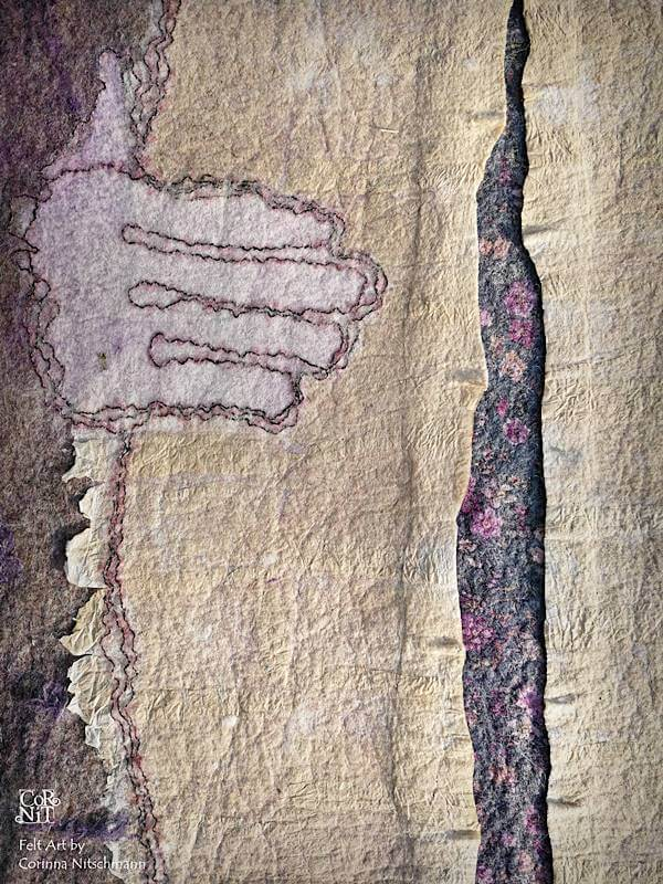 6 Nunofilzbild mit eingefilztem Papier CorNit