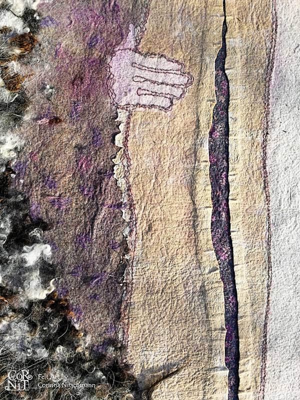 8 Nunofilzbild mit eingefilztem Papier und Rohwolle CorNit