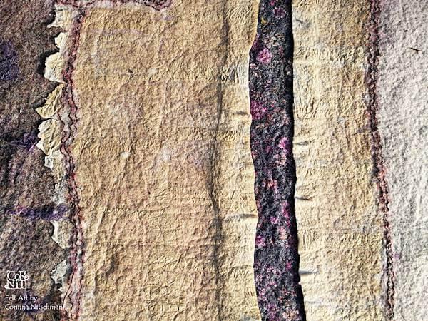 9 Nunofilzbild mit eingefilztem Papier CorNit