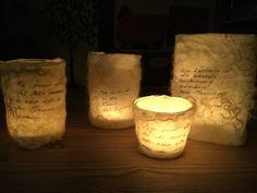 Filzlicht mit Texten