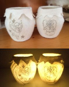 Filzlichter mit Engeln